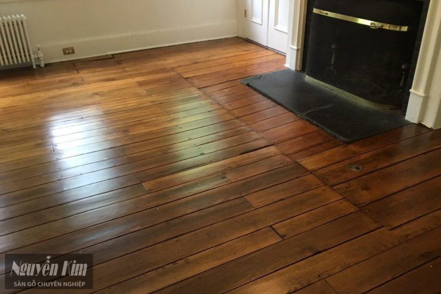 sàn gỗ tự nhiên tại biệt thự cổ