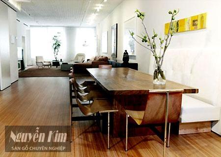 sàn gỗ tại phòng ăn