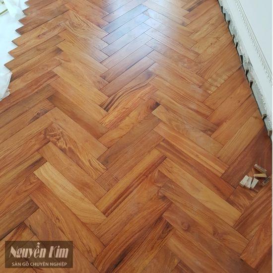sàn gỗ gõ đỏ lào lát xương cá