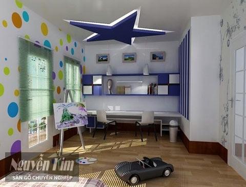 sàn gỗ và nội thất phòng của bé