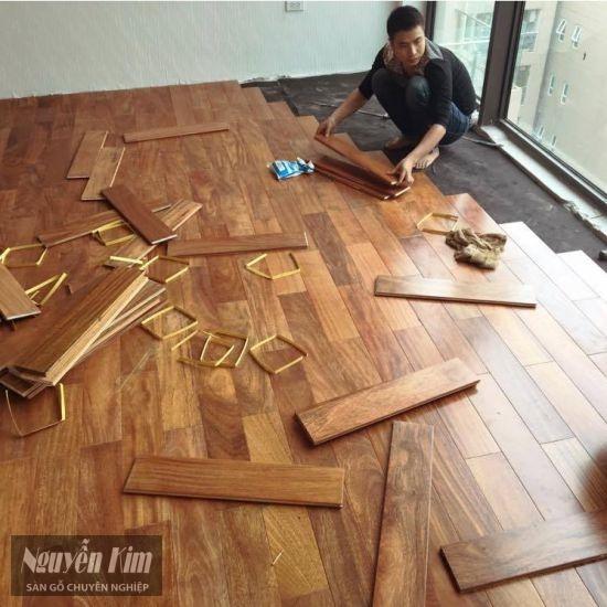 thi công lắp đặt sàn gỗ tự nhiên Lim Nam Phi