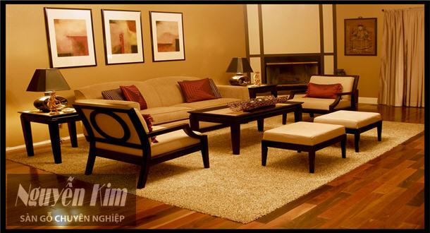 sàn gỗ tương đồng màu đồ nội thất gỗ