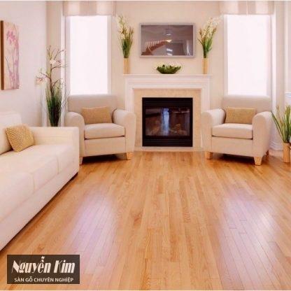 sàn gỗ sồi đỏ đẹp trong phòng khách