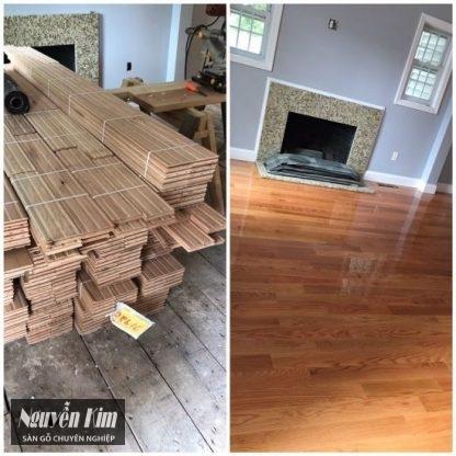 thi công lắp đặt sàn gỗ sồi đỏ mỹ