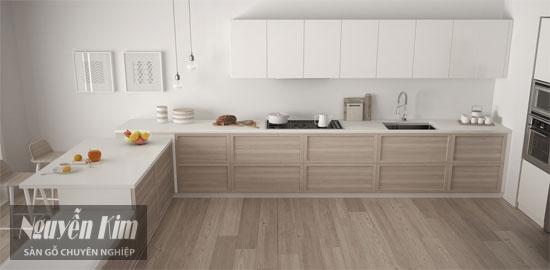 sàn gỗ tự nhiên trong phòng bếp
