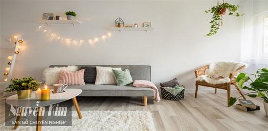 sàn gỗ tự nhiên trong phòng khách