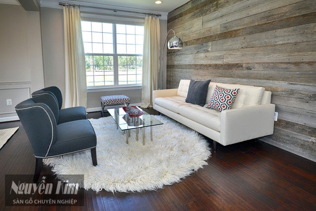 gỗ ốp tường phòng khách theo phong cách tự nhiên