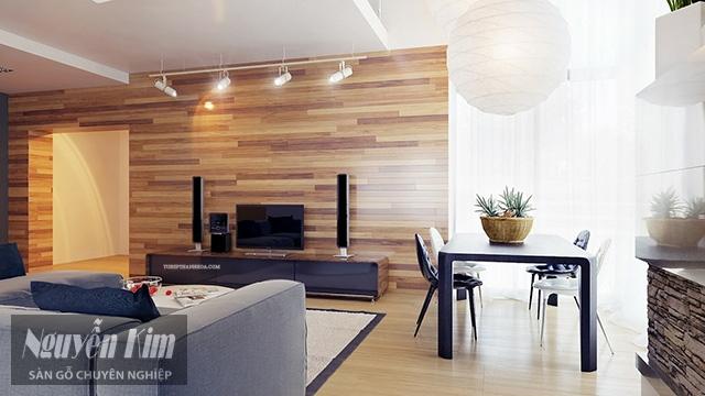 ốp tường bằng gỗ công nghiệp