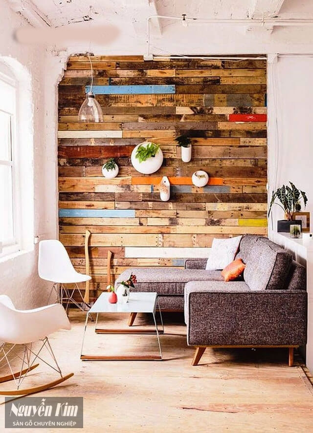 mẫu gỗ ốp tường tự nhiên nhiều màu
