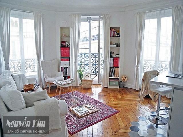 căn phòng mang phong cách Retro với kiểu lát sàn ấn tượng