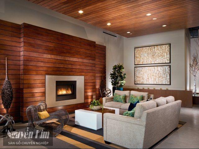 phòng khách ấm cúng hơn với gỗ ốp tường