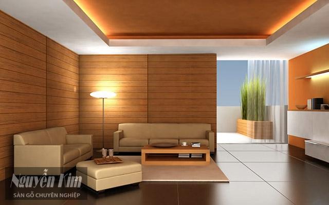 mẫu ốp tường trong phòng khách ấn tượng