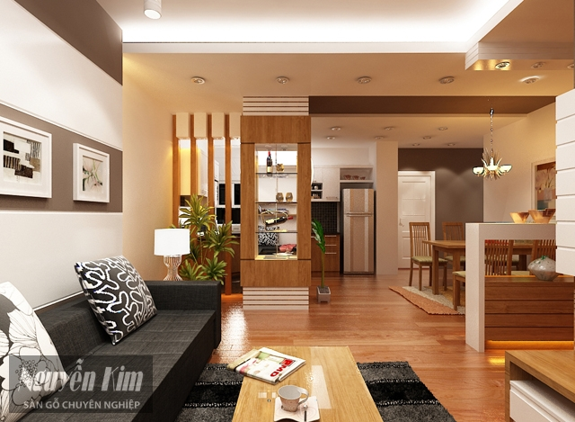 mẫu gỗ ốp tường trong phòng khách