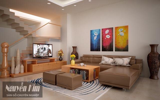 phòng khách trở nên ấn tượng hơn với những mẫu gỗ ốp tường
