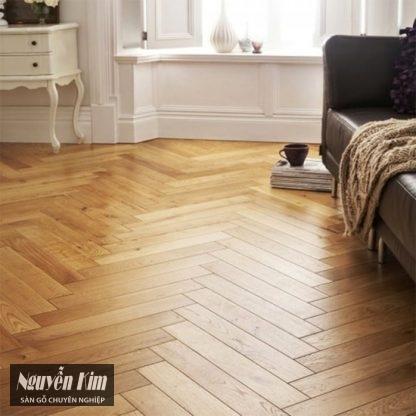 sàn gỗ sồi xương cá trong nội thất châu Âu