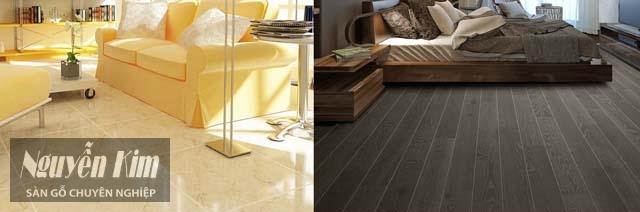 so sánh giữa sàn gỗ và gạch