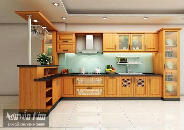 tủ bếp làm từ gỗ