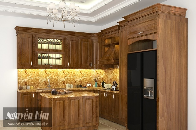 tủ bếp bằng gỗ lát