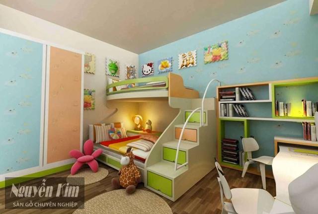 lát sàn gỗ công nghiệp cho phòng của bé