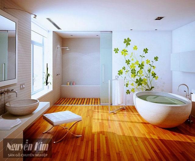 lát sàn gỗ trong nhà tắm